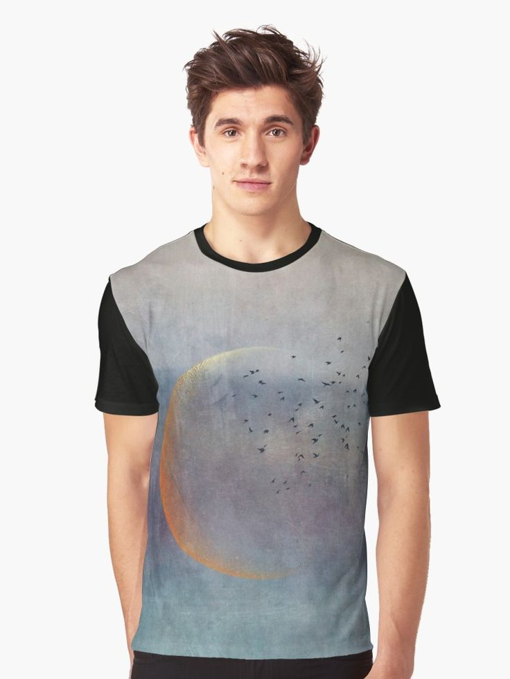 A golden crescent moon with a flock of birds, seen in an abstract way. • Also buy this artwork on apparel, stickers, phone cases, and more.