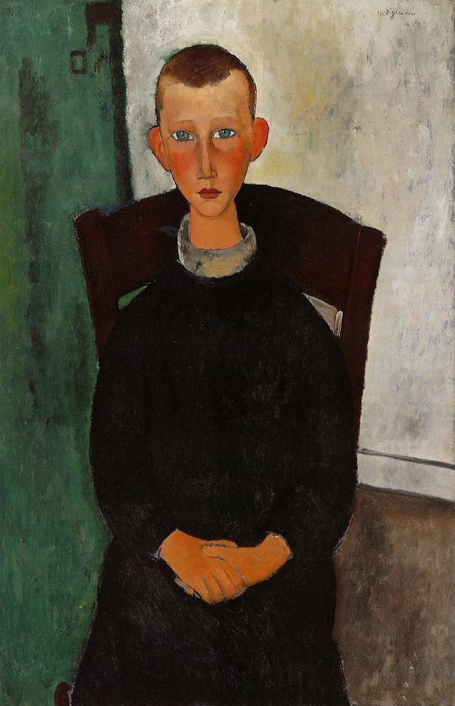 The Caretaker's Son Artist: Amedeo Modigliani Completion Date: 1918 Place of Creation: Paris, France Style: Expressionism Genre: portrait Te...