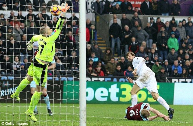 March 4th. 2017: Striker Fernando Llorente scores with a header in Swansea's 3-2 victory over Burnley