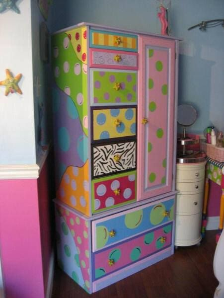Bright painted wardrobe for kids room