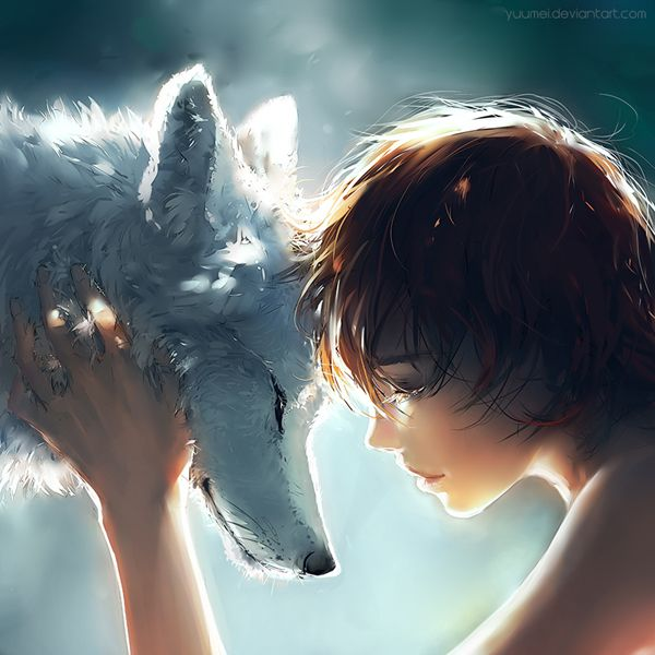 Connection - Digital art by Yuumei depicting a connection between wolf and human. The serenity of this digital art is highly depicted as the two creatures pause for the moment to connect with each other.