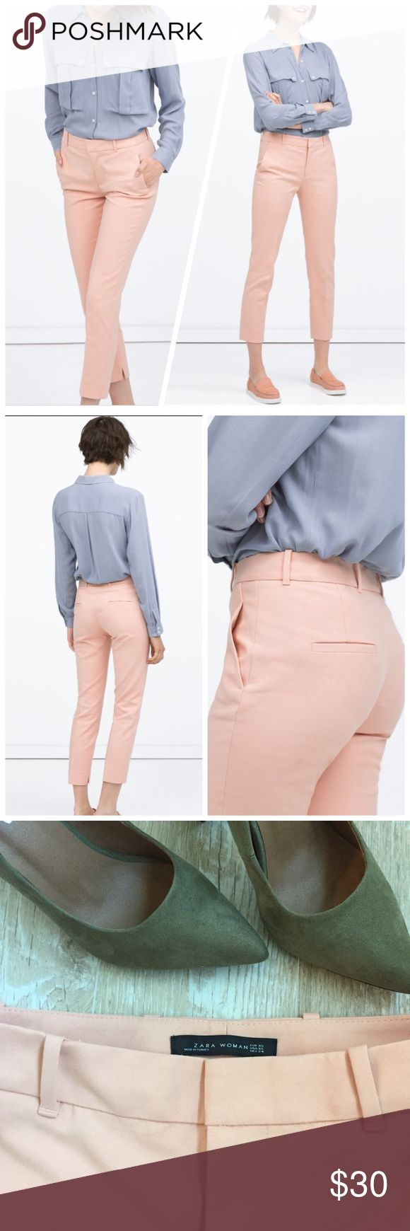 "Blush Zara Trousers Size XS. Good condition. Waist 14"".  Inseam 27"" Zara Pants Ankle & Cropped"