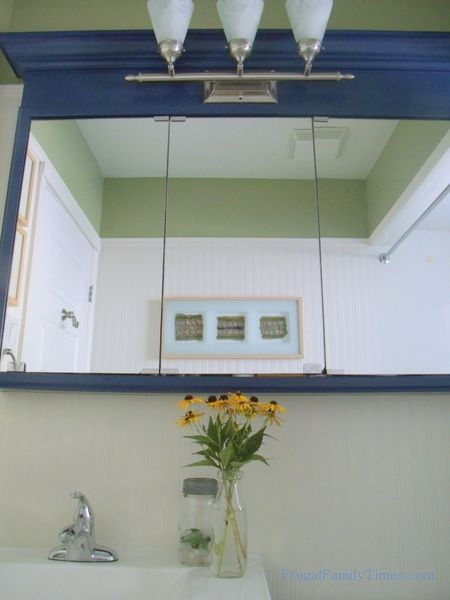 Frugal Family Times: Our Frugal Bathroom Reno: Updating an Old Medicine Cabinet