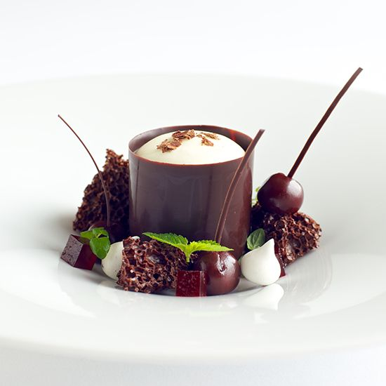 Black Forest dark Valrhona chocolate and cherries. Light, minty Chantilly cream and wafers of aerated chocolate