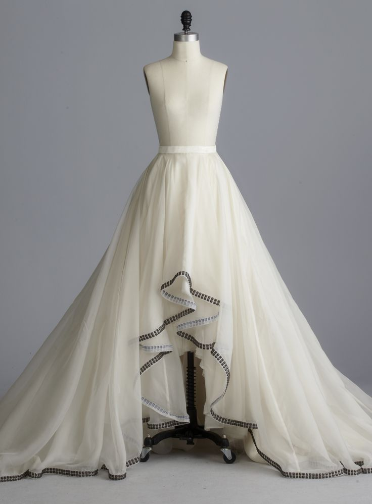 Della Giovanna Reegan Skirt- Off-White Silk Organza A-Line Circle Ball Gown High Low Skirt with Metal Hardware Studded Hem. Bridal Separates. Wedding Gown