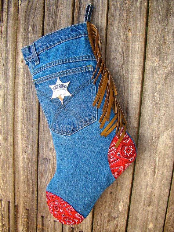 Kid boy's cowboy Christmas stocking denim by CreatedForYouByUs