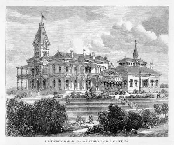 RUPERTSWOOD, SUNBURY, THE NEW MANSION FOR W. J. CLARKE, ESQ. Date(s) of creation: October 7, 1874. print : wood engraving.