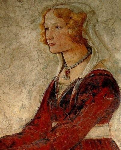 Sandro Botticelli, Venere e le tre Grazie offrono doni a una giovane / Venus and the three Graces presenting gifts to a young woman (dettaglio) - 1486 ca. - Parigi, Louvre