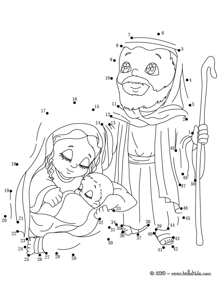 Holy Family printable connect the dots game | Nativity ...