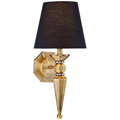 A Black Textured Fabric Shade Tops This Antique Brass Finish Wall Sconce With Octagonal Backplate