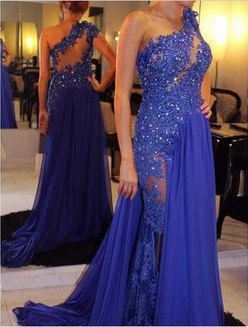 New Style Lace Appliques Prom Dress,Beaded Chiffon Long Prom Dress,One-Shoulder Prom Dress,Evening Dress Prom Gowns,A-Line Evening Gowns,Formal Dress,Women Dress