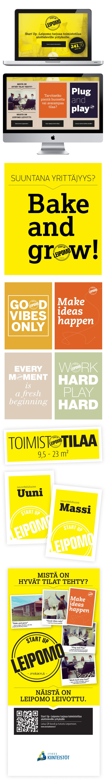 Asiakas: Jykes Kiinteistöt / Start Up Leipomo Avainsanat: yritysilme, värimaailma, typografia, graafiset elementit, graafinen tuotanto, verkkosivuston suunnittelu, responsive web, Facebook-sivusto