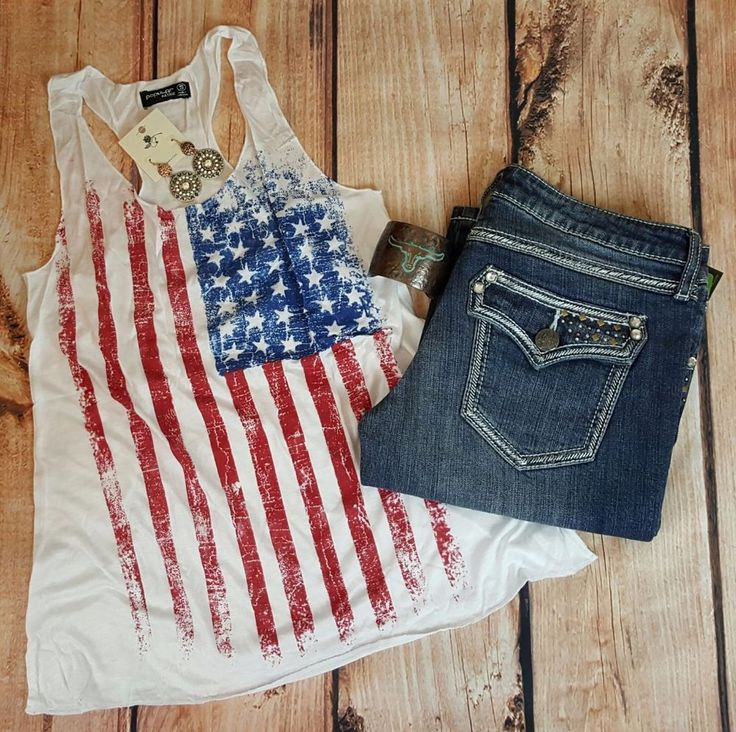 COWGIRL gYPSY AMERICAN FLAG RED WHITE BLUE Patriotic Tank Top Western LARGE #popularbasics #TANK