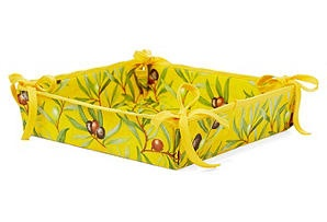 Bread Basket Square, Yellow Olive  MIERCO    $22.00: Olive Mierco, Bread Baskets
