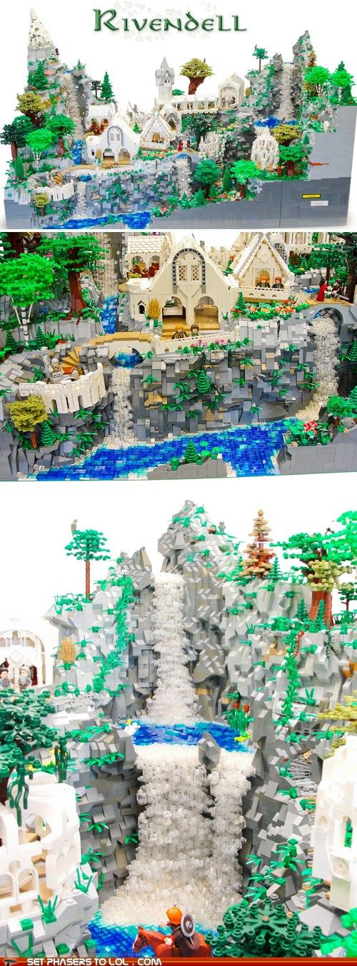 """Lord of the Rings - Lego Rivendell created by Blake Baer and Jack Bittner and has more than 50,000 pieces, weighs 120 pounds and is 40"""" x 30"""""""
