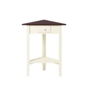 Premier Housewares Corner Table with Dark Wood Top, 71 x 28 x 55 cm, Cream: Amazon.co.uk: Kitchen & Home