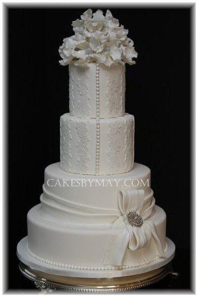 Simple, chic, white on white, wedding cake.