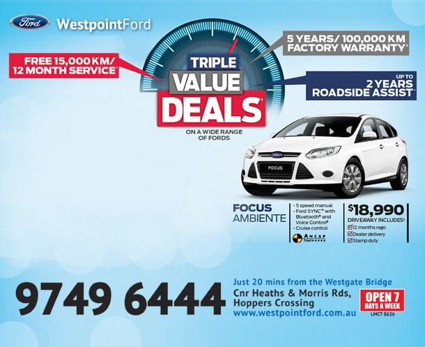 Triple Value Deals :: Up to 2 Years Roadside Assistance.  5 years/100,000km Factory Warranty.  Free 15,000km/12 months service.  Call us on: 1300 699 115