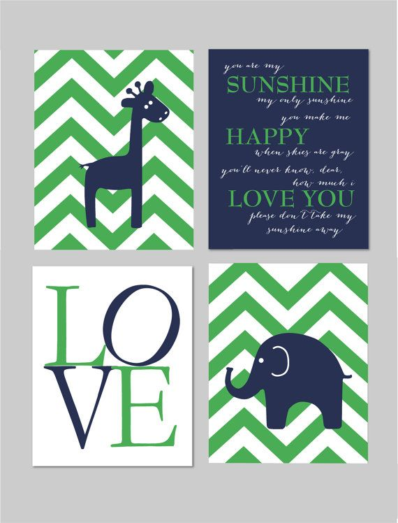 Navy and Green Nursery Navy and Green Boy Room You Are My Sunshine Elephant by karimachal, $40.00