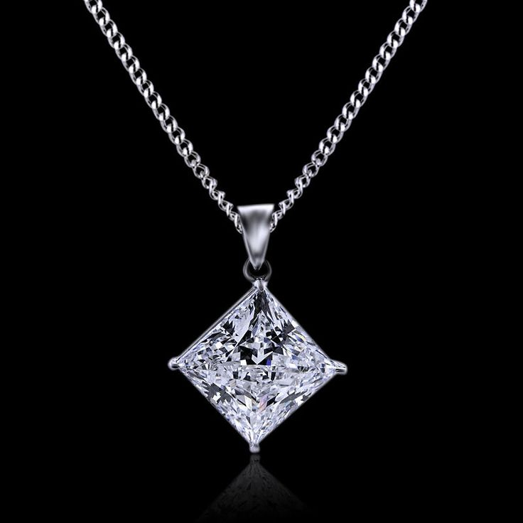 1.00ct princess cut solitaire diamond pendant 14k white gold princess necklace