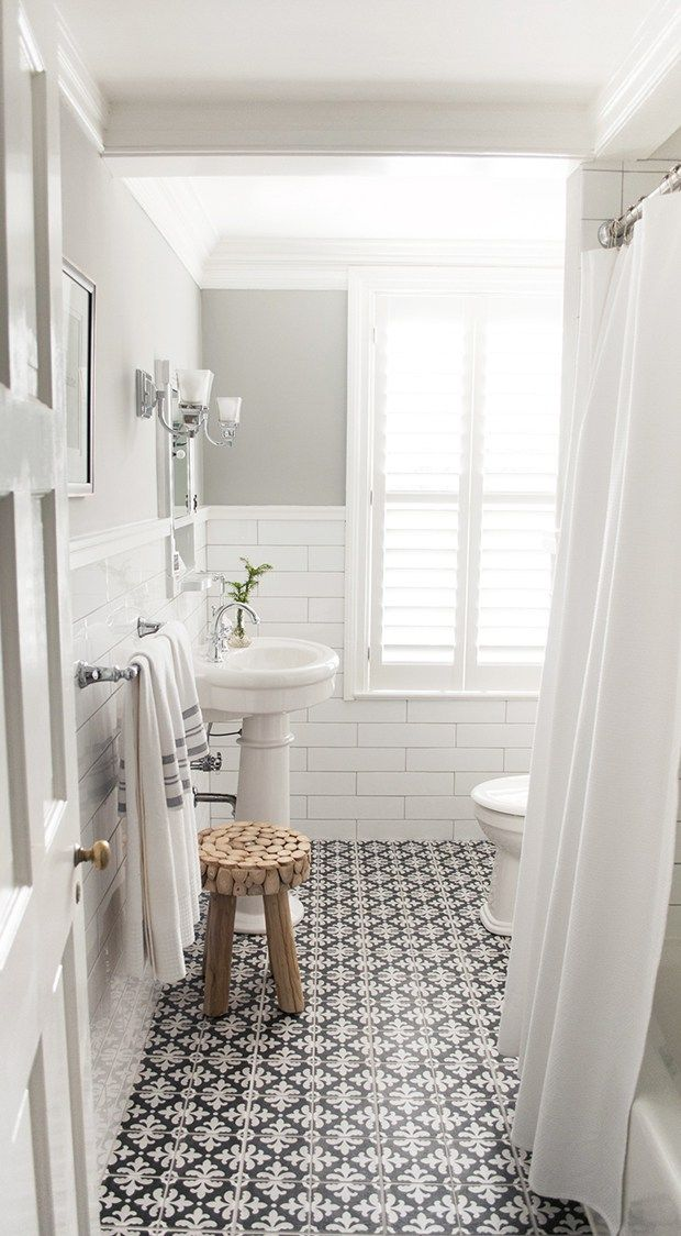 Tile - black and white for shower floor Bathroom with white subway tile and patterned encaustic floor tiles, designed by Vintage Scout Interiors, via @sarahsarna.