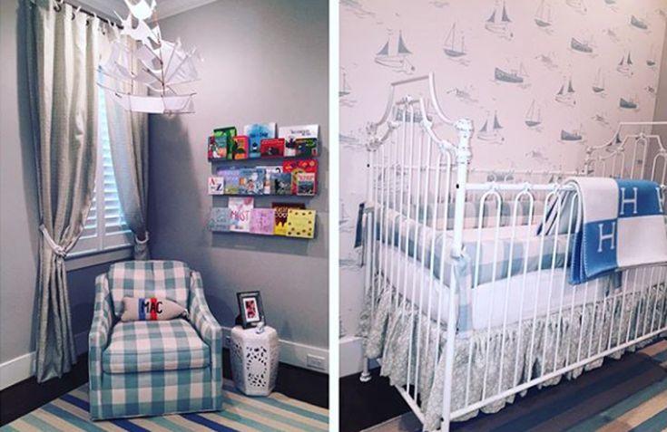 Sail away!  Love this classic boy nursery. #crib #nursery #blue #sailor #baby #brattdecor