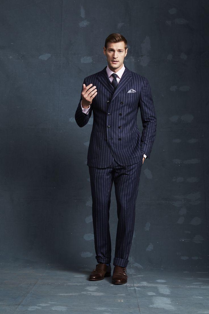 Savile Navy Suit; Burgess Pink Shirt; Navy Herringbone Tie; Valdisere Sky Pocketchief