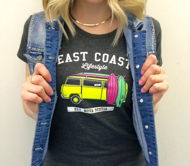 New East Coast Lifestyle surf van t-shirts are in! Pair with a denim vest for a casual cool outfit