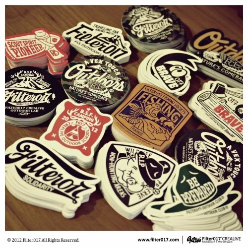 Filter017 CREALIVE OUTDOOR LAB STICKER SET by Filter017, via #Behance #Typography