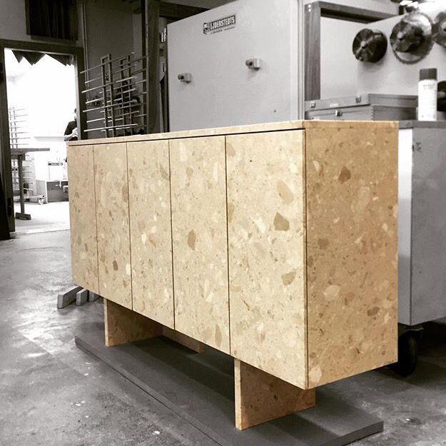 Terrazzo cabinet designed by Christian Halleröd. Produced by KFK Snickeri.