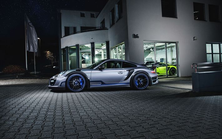 Télécharger fonds d'écran Porsche 911 Turbo GT, 2017, TechArt, de la Rue, des courses de Nuit, coupé sport, voitures de course, tuning Porsche, voitures allemandes, Porsche