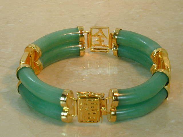 Oriental Burmese Jade Bracelet. Charms: Long Life, Happiness, and Good Luck.