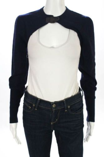Brunello-Cucinelli-Blue-Cashmere-Button-Closure-Crew-Neck-Shrug-Size-Large