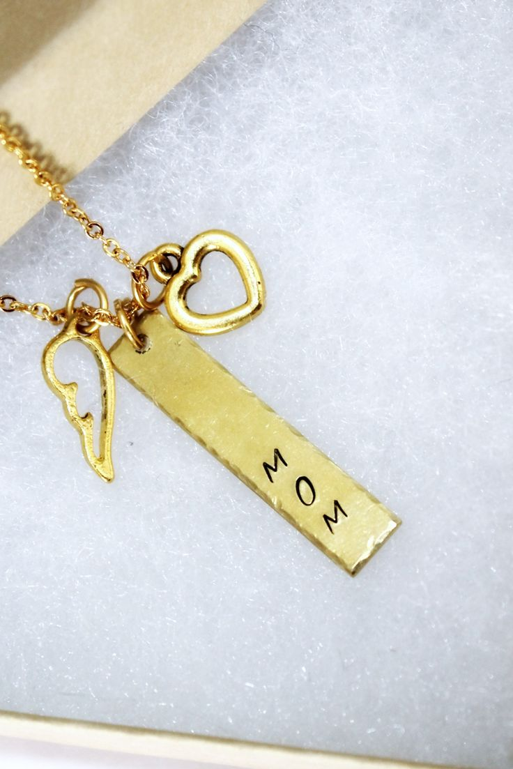 Gift for Mom ... Hand stamped gold plated necklace