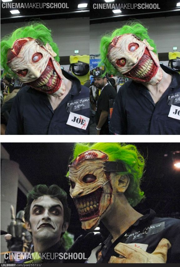 Joker Interpretation At The Comic Con By The Cinema Makeup School - Joker-no-makeup-ics