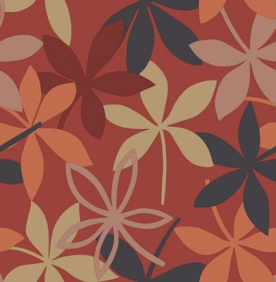 Cuba Benita (M0646) - Crown Wallpapers - A stylized all over leaf design in warm Indian summer colours - showing in orange, beige, red and black on a warm red background background. Other colour ways available. Please request a sample for true colour match.