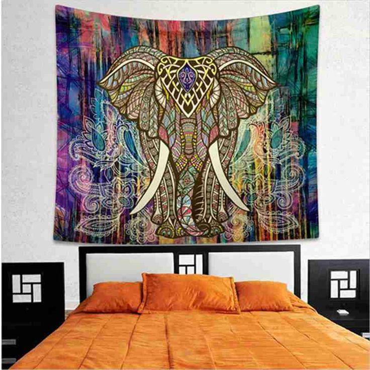 1ピース曼荼羅タペストリー織り着色プリントの装飾インド象タペストリー宗教自由奔放に生きる壁カーペットリビングブランケットtapiz