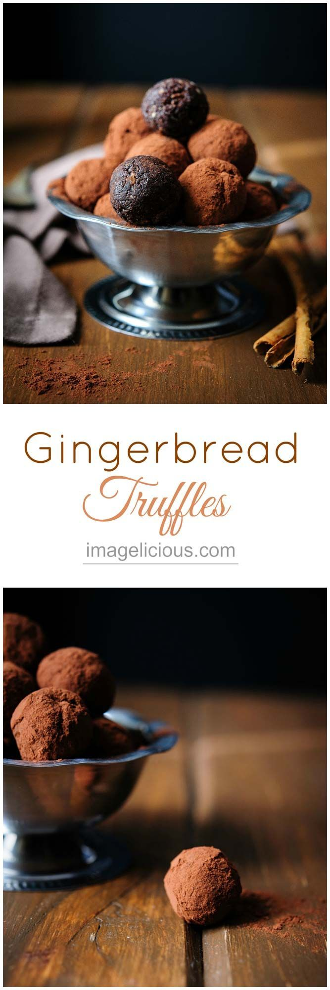 Gingerbread Truffles are delectable and addictive with perfect holiday flavours, no-one will know that these sweet and delicious treats are made out of dates, prunes and pecans. They are vegan and gluten-free.   Imagelicious #Holidays #Holidaybaking #Christmas #Christmasbaking #Gingerbread #Truffles #Vegan #Dates #Imagelicious #GlutenFree