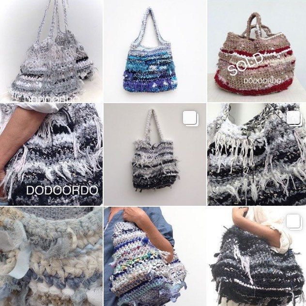 Handgemaakte tas van gerecyclede repen stof OOAK