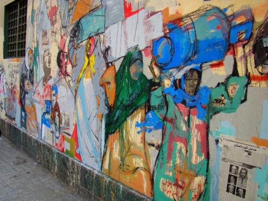 Hanaa El Degham, mural on the wall of the Lycée Français, Cairo, Egypt