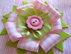 4 layer bow tutorial - I used a hot glue gun instead of sewing it & made my own center button.