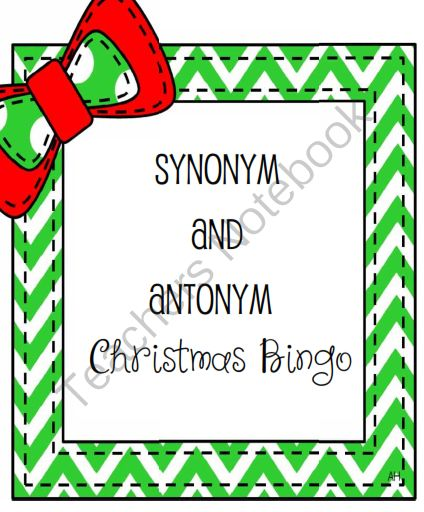 Synonym and Antonym Christmas Bingo GIVEAWAY! Enter for your chance to win 1 of 3.  Synonym and Antonym Christmas Bingo (9 pages) from teaching crafty on TeachersNotebook.com (Ends on on 11-8-2014)  GIVEAWAY for my Christmas Bingo set of synonyms and antonyms!  Enter and enjoy :)