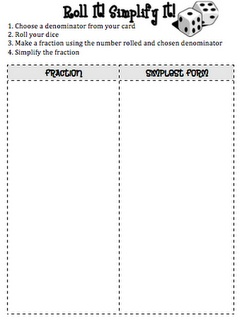 It Simplify It- use this to have students practice creating fractions ...