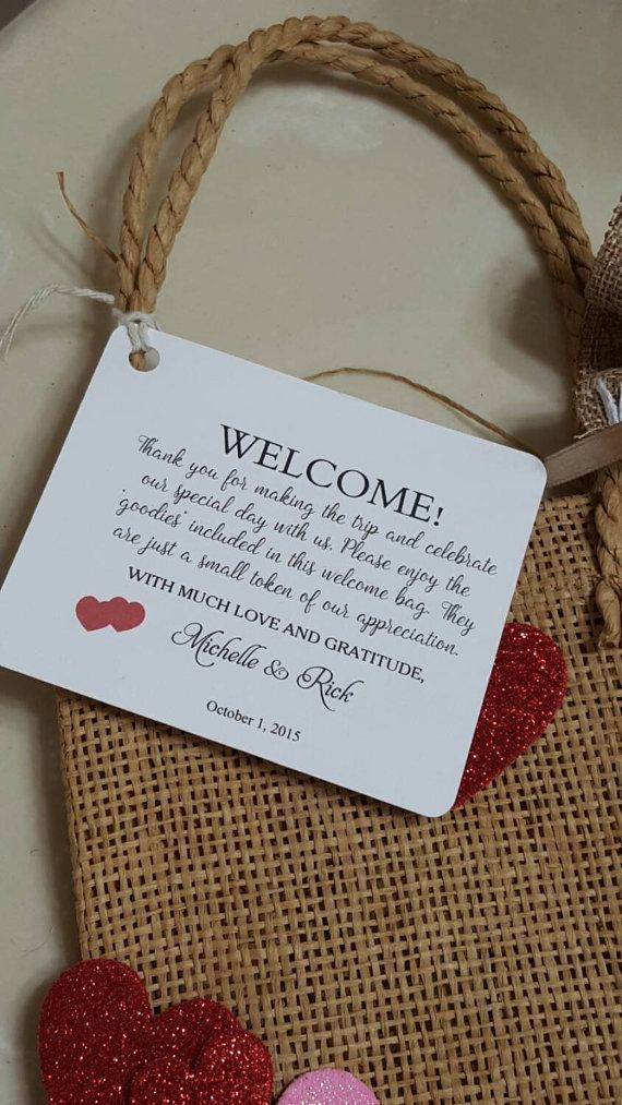 hotel gift bag tags, size 4x4'', Wedding tags, Thank You