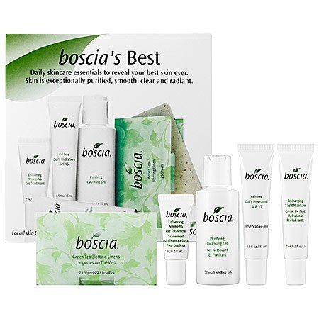 Boscia's Best 5-Step Starter Kit by Boscia. $44.00. Green tea blotting linens, 25 sheets infused with green tea extract, these finely-woven linens absorb excess oil without disturbing makeup. Purifying cleansing gel, sulfate-free cleanser and makeup remover derived from amino acids to deep clean your skin while protecting its natural moisture barrier. Recharging night moisture, concentrated moisturizer that works overnight to nourish and revitalize the skin. Oil-Free...
