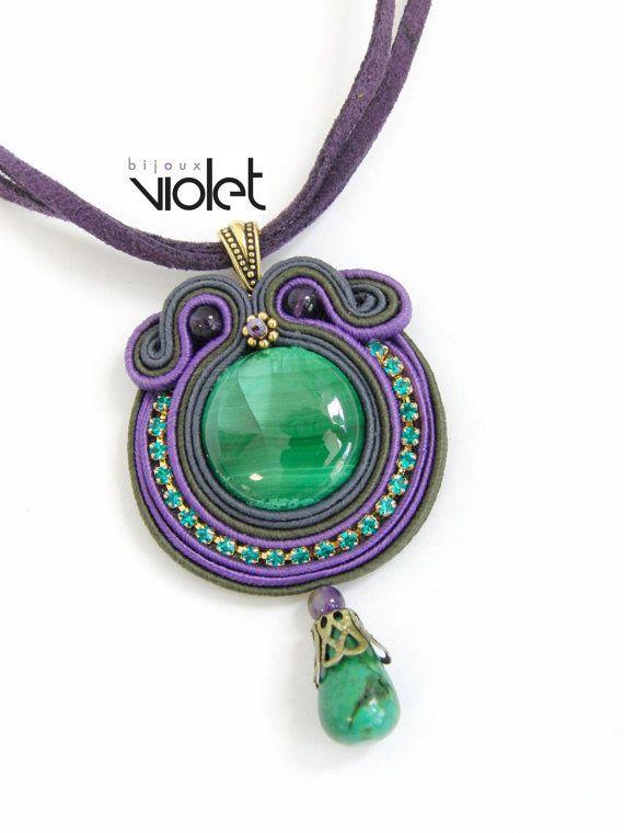 Soutache pendant by Violetbijoux on Etsy, $49.00