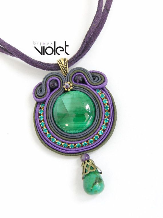 Soutache pendant by Violetbijoux on Etsy, $49.00