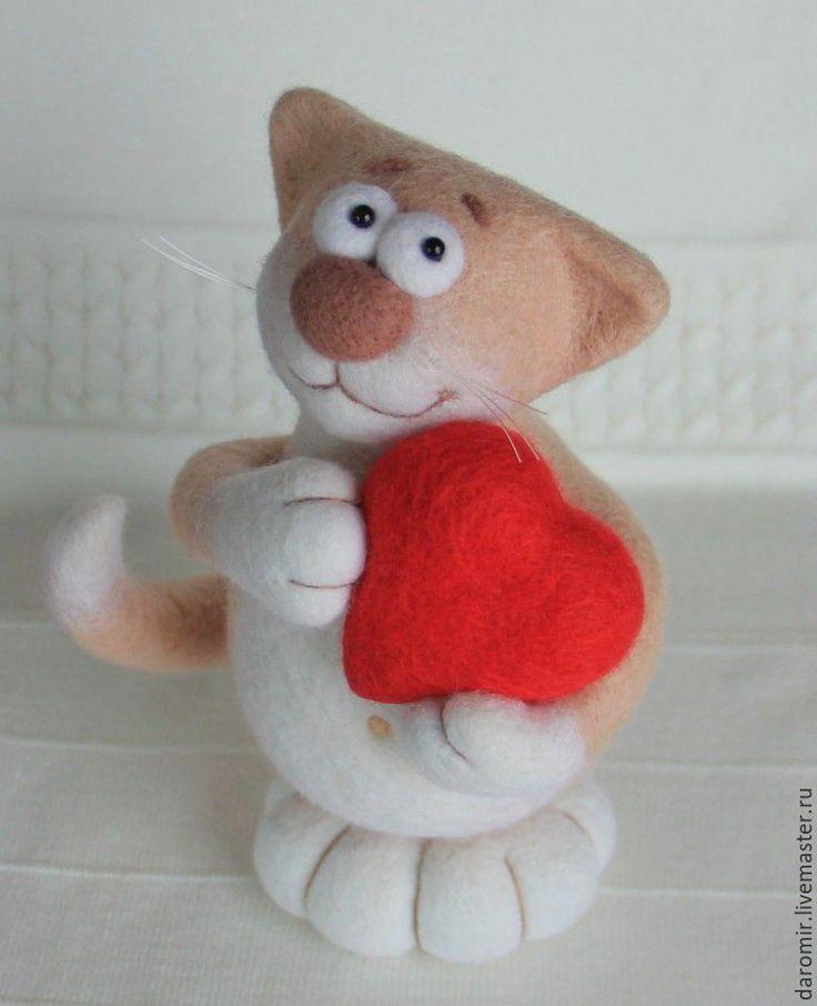 """Купить Влюблённый котик из войлока """"Валентин"""" - валентинов день, влюбленный, День всех влюбленных"""