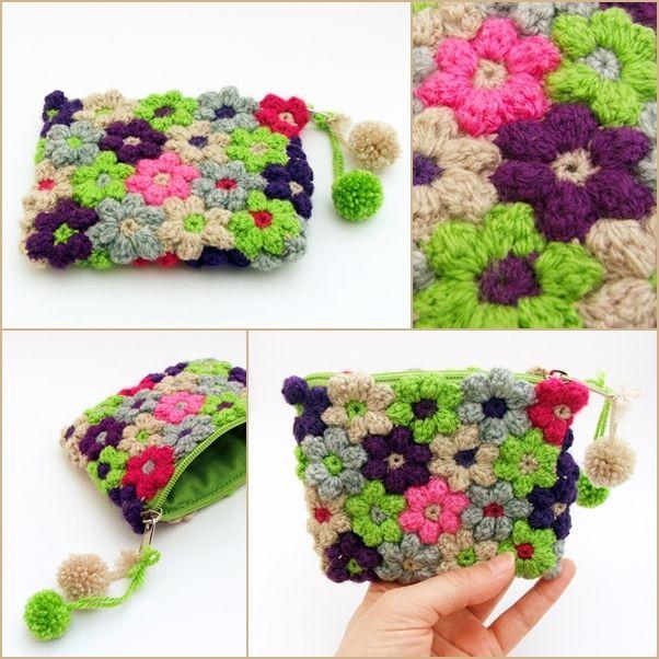 horgolt virágos pénztárca / crochet floral purse