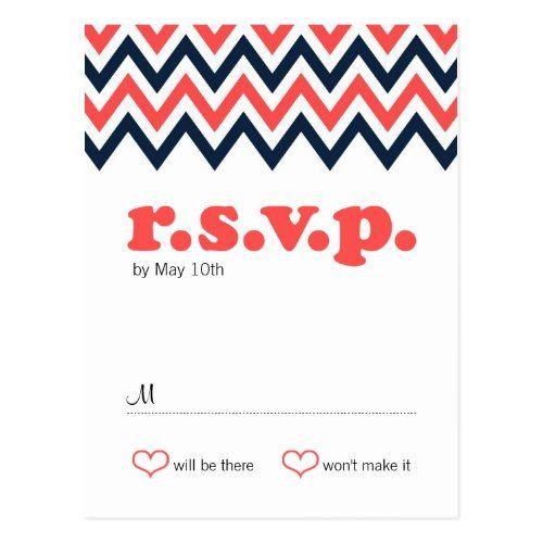 Modern Navy & Coral Chevron & Lovebirds Wedding Postcard